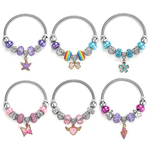 Powerking braccialetto per bambini, 6 set braccialetti di gioielli per bambine pandora set per dress up fingi per giocare a birthday party favour