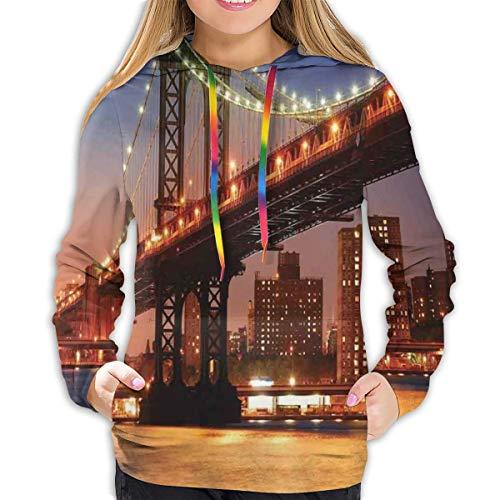 Women's Hoodies Tops,Manhattan Bridge with Night Lights Over Hudson River Brooklyn Popular Town Image,Lady Fashion Casual Sweatshirt,M