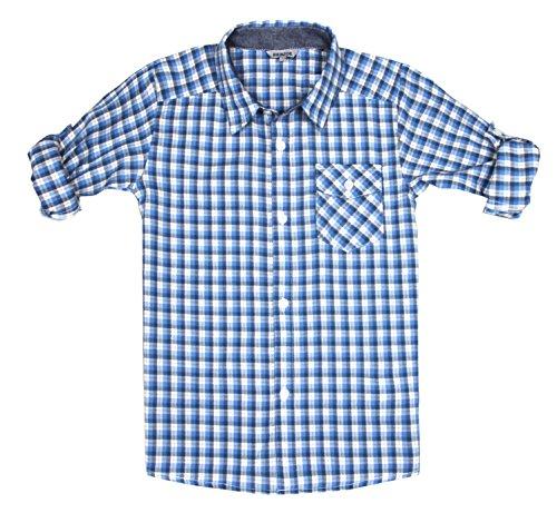 Bienzoe Jungen Baumwolle Plaid Knopf Unten Hemd Blau Grau Größe 5/6 (Jungen Kleidung Größe 6)