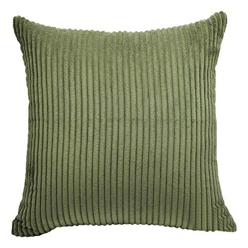PanShui Gestreifter Kordsamt weicher dekorativer quadratischer Überwurf-Kissenbezug für Sofa, Bett, Schlafzimmer, Heimdekoration, Auto, Armee-grün, 40 x 40 cm -