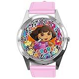 Taport Dora l'esploratore orologio al quarzo rosa cinturino in pelle