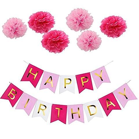 Happy Birthday Girlande Geburtstag Deko Set, Rosa Happy Birthday Banner und 6 Pcs Pompoms