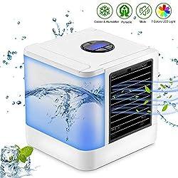 Refroidisseur d'air, Sendowtek Mini climatiseur/humidificateur/purificateur de bureau personnel avec réservoir d'eau indépendant, 7 couleurs LED et 3 vitesses pour l'extérieur