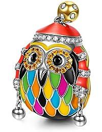 NinaQueen - Ski Owl - Charm pour femme argent 925 (Bonne série Family)