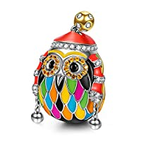 NinaQueen Skiing Owl 925 Sterling Silver Bead for women fit pandora charms bracelet Christmas Gifts Birthday gifts san valentines Mothers Day Anniversary Wedding Gift For Wife Daughter Friend Girl