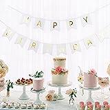 SUNBEAUTY Happy Birthday Girlande Geburtstag Girlande mit Gold Folierte Buchstaben (Weiß)