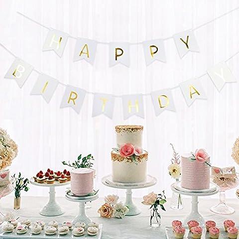 Happy Birthday Girlande Geburtstag Girlande mit Gold Folierte Buchstaben von SUNBEAUTY (Weiß)