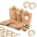 24 kleine braune Mini Papiertüten Boden Kraftpapier 15 x 9 x 3,5 cm + HIRSCH Klammern GOLD + 24 runde Aufkleber SPITZE weiß blanko Tischkarte Verpackung Geschenk