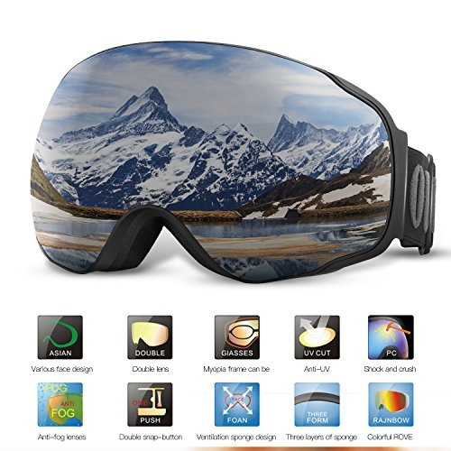 Skibrille Brillenträger Für Herren Und Damen,OUTAD Anti-Beschlag UV400 Große Rahmenlose Auswechselbare Sphärische Skibrille Sportbrille Snoboardbrille Verspiegelt für jugendliche Skifahren Snowmobile (Grau)