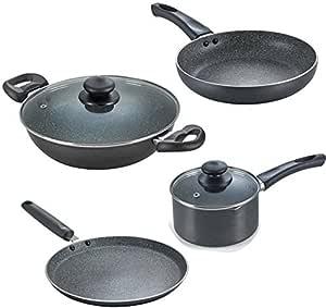 Prestige Omega Granite Aluminium Kitchen Set, 4-Pieces, Black