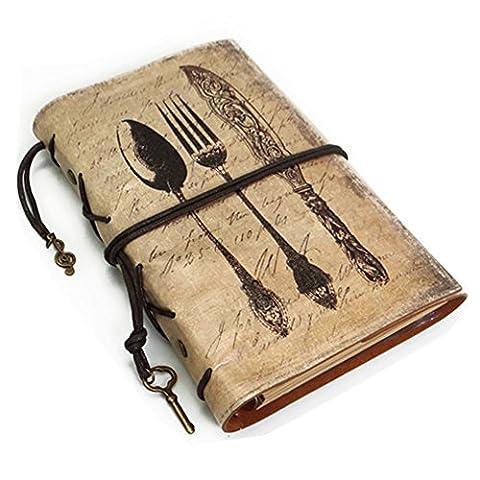 fittoway Rétro en simili cuir PU souple pour feuilles volantes Journal de voyage Journal Journal rechargeable Carnet A6 Knife Fork Spoon