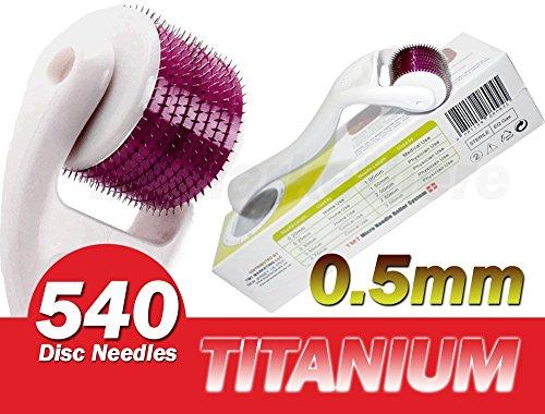 (540 Aiguilles) TMT Blanc micro Needle Roller System Titanium pour les rides, cicatrices, acné, traitement de la cellulite (Plus efficace que régulier 192 Rouleaux Derma Aiguille) – 0,5 mm