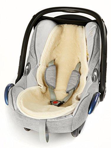 Baby Merino Universaleinlage, Einlage für Kindersitz, Babyschale, Babytrage, Kinderwagen, Buggy, Flor aus 100{cf463d6b1b0aeac76ab158221651482a4356de961630b15cabd4af3c952db6c8} Schurwolle - Alternative zu Lammfell, Natur