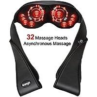 Ikeepi Shiatsu Masajeador de Cuello Función de Calor para Relajación de Fatiga en Casa Oficina o Coche, 32x Cabezales de Masaje Shiatsu para el dolor de Pies Espalda Cuello y Hombros