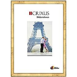 Crixus37 Echtholz Bilderrahmen für 46 x 125 cm Bilder, Farbe: Schlagmetall Gold, Massivholz Rahmen in Maßanfertigung mit entspiegeltem Acrylglas und MDF Rückwand, Rahmen Breite: 37 mm, Aussenmaß: 52,9 x 131,9 cm