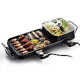 BBQ -2 en 1 Fondue Electrique Hot Pot BBQ Appareil Fondue Chinoise Service à Fondue Poêle Electrique pour Barbecue Thaï Capacité Convient pour 5-6 Personnes Utensiles Cuisine Faites des grillades