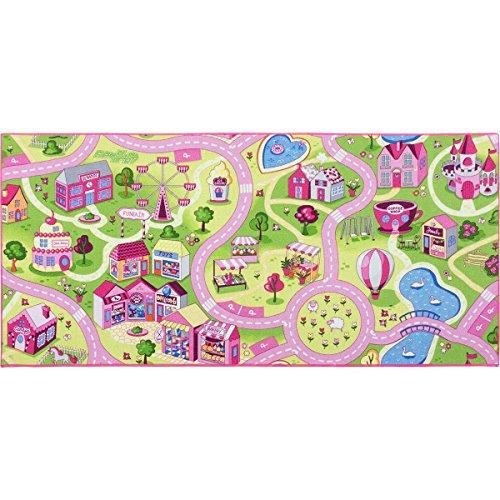 *BilligerLuxus Kinderteppich Mädchen Straßenteppich Spielteppich Sweet Town in vers. Größen, Größe:80×150 cm*
