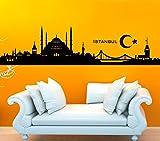 Wandtattoo-Günstig G158 Skyline Istanbul Wandaufkleber Wandsticker schwarz (BxH) 200 x 43 cm