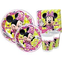 Ciao Y2519 Kit para mesa de fiesta Minnie para 8 personas (44 piezas: 8 platos grandes, 8 platos medianos, 8 vasos, 20 servilletas)
