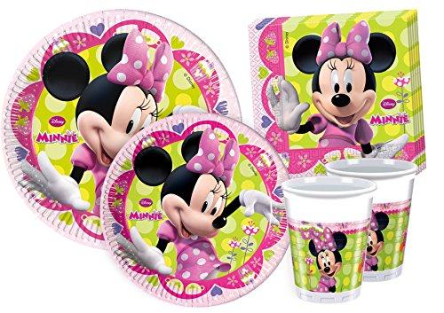 Ciao Y2518 - Kit para mesa de fiesta Minnie para 24 personas (112 piezas: 24 platos grandes, 24 platos medianos, 24 vasos, 40 servilletas)