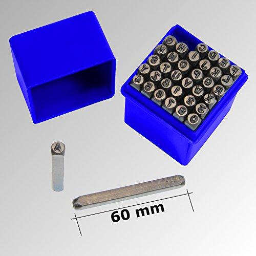 36 tlg. Schlagbuchstaben Schlagzahlen SET 4mm Schlagstempel (Metall Stempel-set)