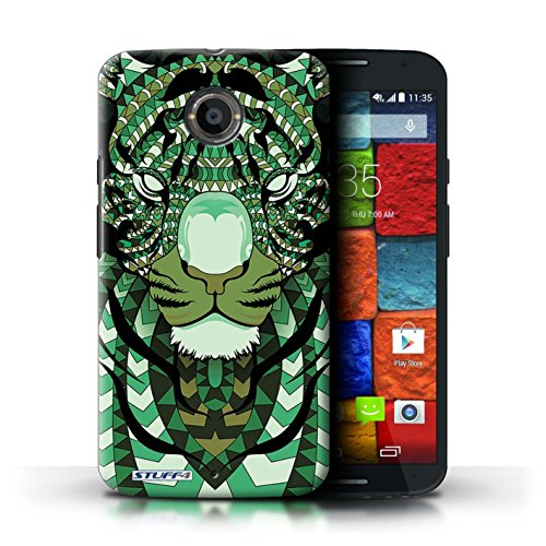 Kobalt® Imprimé Etui / Coque pour Motorola Moto X (2014) / Tigre-Rouge conception / Série Motif Animaux Aztec Tigre-Vert