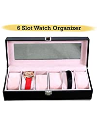 Tied Ribbons 6 Slot Leather Portable Watch Box Case Display Box Organizer With Glass Window For Men/Women(Black)