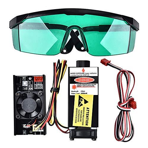 HUKOER 10W 445nm TTL PWM Control Módulo de láser azul, DC 12V Cabeza de láser ajustable focal, 100-240V Módulo de grabado de cabeza de láser con gafas