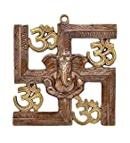 JaipurCrafts Wall Hanging Of Lord Ganesha On Swastik With Om Showpiece – 22.86 cm