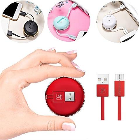 Câble Micro USB durable rétractable Rovy , Charge / Synchro grande vitesse Rapide - Câble USB 2.1A pour Huawei, Samgung Galaxy S7 S6 S4 Note 5 Note 5 ,Smartphone, Sony, Nexus, Asus, Nokia, LG, Motorola, Kindle,Appareils Android et Plus Encore (Noir)