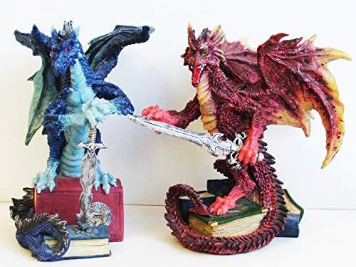 Unbekannt Drachen Figuren auf Büchern, 2er-Set in Rot & Blau, Dragon Buchstütze, (0360130) - Drachen Buchstützen