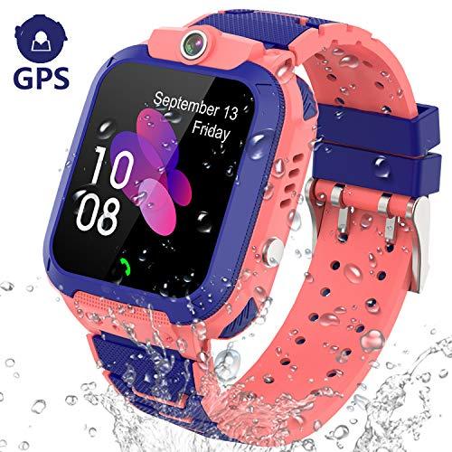 PTHTECHUS GPS Smartwatch Kinder Armband - GPS Uhr Kinder Smart Watch Kleine für Mädchen Junge, Intelligente Armbanduhr Kinder Telefon Anruf SOS (GPS G012 - Pink)