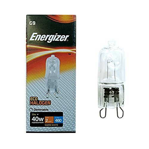 Pack of 10 x G9 33W=40W Eveready Energiser branded 240V Dimmable 460 Lumen D Rated Safety Fused Halogen clear bulbs lamps capsules