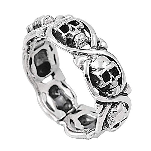 Schädel Kopf Frauen Männer Legierung Fingerring Halloween Party Schmuck Geschenk Antik Silber US 10 Langlebig und Nützlich ()