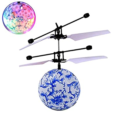 Mini Flying RC Ball , Xshuai® Crystal Hand Suspension Helicopter Aircraft Infrared Sensing Induction Flying Electric Ball Drone Toy with Colorful LED Lighting Flashing for Kids,Teenagers