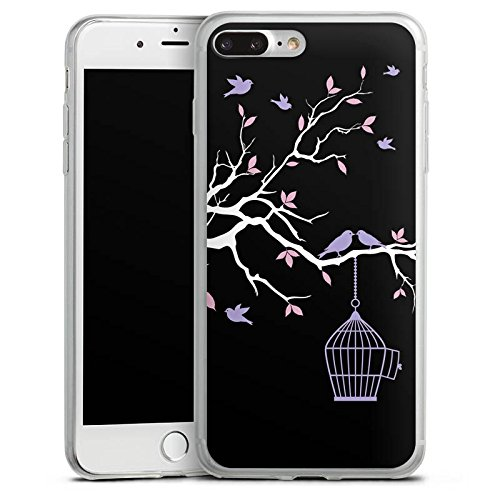Apple iPhone 8 Plus Slim Case Silikon Hülle Schutzhülle Blüten Freiheit Vögel Silikon Slim Case transparent