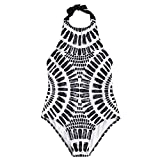 YTJH Traje de Baño Mujer Estampado Piedras Bañador Sexy Cuello Alto Bra...