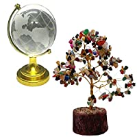 The Feng Shui globe energizes your mentor luck, business luck, networking, literary pursuits and recognition luck. Empower your inlaid energy with this Divya Mantra mixed gemstone crystal tree. This wire gem tree has 7 multicolor crystals tied with a...