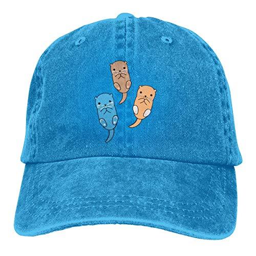 Hoklcvd DREI Cartoon Otter Unisex gewaschen einstellbare Vintage Cowboyhut Denim Baseball Caps Design9 (Kangol-hüte Camo)