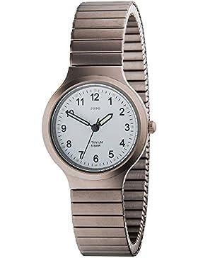 JOBO Damen-Armbanduhr Quarz Analog Titan Mineralglas Flexband