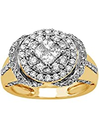 Lolls 14k Yellow Gold Over 925 Sterling Silver 3.38 CT Round & Princess Cut CZ Engagement Ring [Lolls_AMR2569_Y]