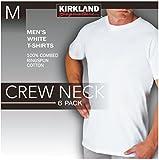 Kirkland Men's Crew Neck White T-shirts 6 Pack Medium by Kirkland Signature