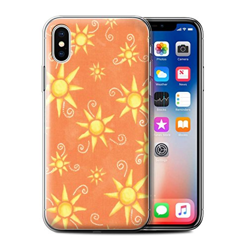 Stuff4 Gel TPU Hülle / Case für Apple iPhone X/10 / Gelb/Weiß Muster / Sonnenschein Muster Kollektion Orange/Gelb