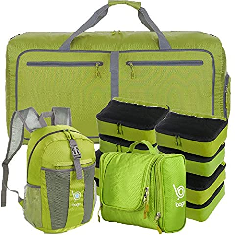 Lightweight Family Travel Set - All the Luggage and Packing Accessories you need (Green)