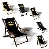 Batman - Liegestuhl bedruckt Balkon Garten Sonnenliege Relax Holz Terrasse | Variante:Aluminium, Schwarz