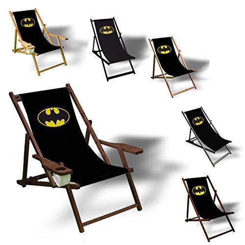 Printalio Batman - Liegestuhl Bedruckt Balkon Garten Sonnenliege Relax Holz Terrasse | mit Armlehne, Dunkelbraun