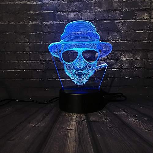 Wangzj 3d illusion lampe / 7 farbwechsel/fernbedienung/weihnachten decora luminaria/kinderspielzeug/valentinstag geschenk dekor/cool man sonnenbrille