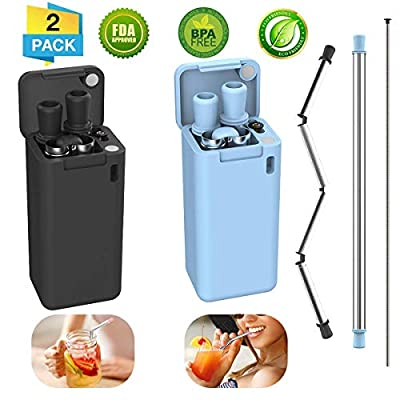 2 Pack Collapsible Reusable Straw, Composed of Stainless Steel and Food-grade Silicone, Portable Set with Hard Case Holder and Cleaning Brush, For Party, Travel, Household, Outdoor, etc. (Black & Blue) - 06