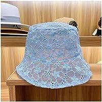 Fengdp Sombra La Flor del cordón del Sombrero de Las Nuevas señoras de ala Ancha Sombrero for el Sol del Verano Flojo Sombrero Elegante Sombrero de Las señoras de Encaje niña (Color : Blue)