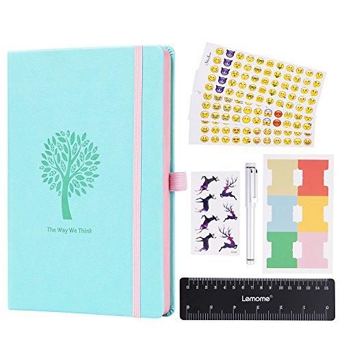 d Notebook - Lemome Punktierte Nummerierte Seiten Hardcover A5 Notizbuch mit Stifthalter - Premium Dickes Papier 125g/m² + Bonus Geschenke (Mint Green) (Notebooks Journals)